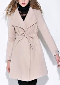 Beige Tunnelzug Taschen Umlegekragen Warme Winter Outwear Wasserfall Wollmantel Damen Mode