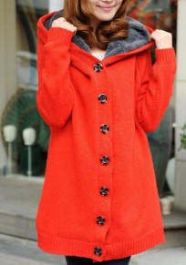 Red Patchwork Single Breasted Long Sleeve Hooded Cardigan Sweater Coat