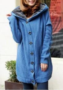 Manteau poitrine manches longues cardigan à capuche bleu