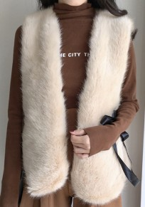 Khaki Sleeveless Lace Up Slit Faux Fur Fashion Vest Coat