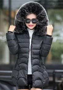 Manteau doudoune rembourré lumière fourrure à capuche hiver mode noir femme