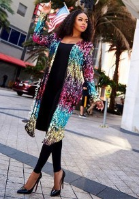 Colorful Sequin Spark Fashion Clubwear Cardigan Coat