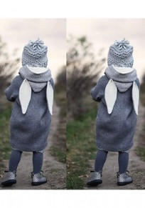 Grey Patchwork Rabbit Pockets Hooded V-neck Long Sleeve Cardigan Coat