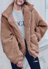 Kamel Taschen V-Ausschnitt Langarm Oversize Dicke Warme Winter Jacken Damen Teddymantel Pelzmantel