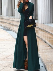 Dark Green Band Collar Zipper Long Sleeve Fashion Floor Length Wool Coats