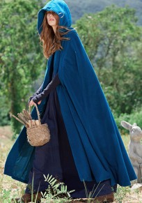 Blue Draped Buttons Hooded Cape Floor Length Christmas Thick Coat