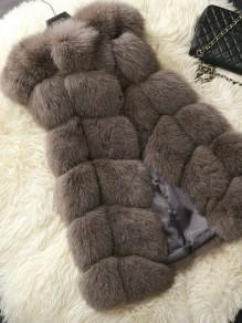 Manteau en fourrure sans manches femme mode hiver veste coffee gris