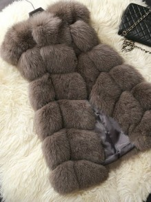 Coffee Irregular Round Neck Sleeveless Fashion Fur Vest Coat