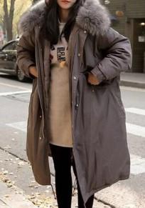 Grau Taschen Mantel Mit Fellkapuze Dicker Warme Lange Winterjacke Parka Damen Mode