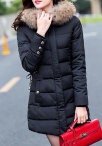 Manteau doudoune fourrure à capuche manches longues hiver mode décontracté femme veste noir