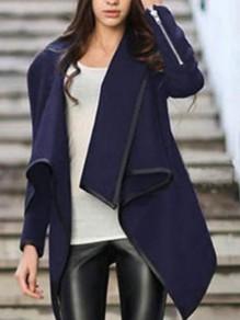 Manteau en laine irrégulier col cascade décontracté femme vestes bleu marine
