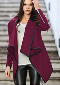 Burgundy Irregular Peplum Turndown Collar Plus Size Boyfriend Casual Wool Coat