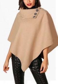 Khaki Buttons Irregular Turndown Collar Oversized Pullover Cape Wool Coat