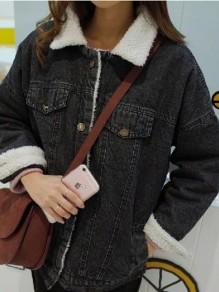 Schwarz Knöpfen Taschen Langarm Warme Dicke Lambwool Mantel Mit Teddyfutter Oversize Jeansjacke Damen Mode