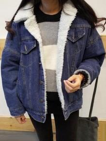 Veste en denim doublé mouton laine d'agneau manche longues décontracté femme jean jacket bleu foncé