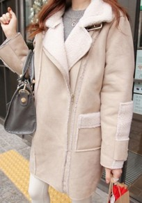 Beige Pockets Zipper Buttons Suede Turndown Collar Long Sleeve Coat