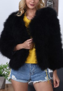 Black V-neck Long Sleeve Winter Warm Fashion Faux Fur Jacket Coat