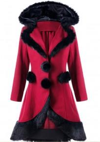 Weinrot Schnürung Fellkragen Langarm Weihnachten Minx Fleece Lang Gothic Warme Wintermantel Damen