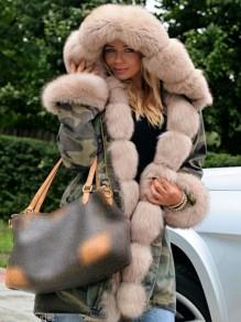 Manteau mi-longue hiver marron clair fourrure à capuche décontracté chaud parka veste femme camouflage kaki