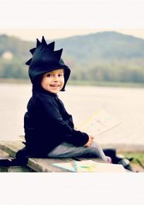 Manteau poches irrégulières dinosaures à capuche fermeture éclair bébé noir