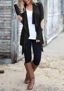 Manteau impression irrégulière col manches longues occasionnel noir