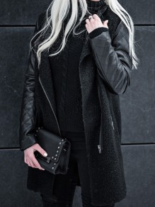 Black Patchwork Pockets Turndown Collar Zipper PU Wool Jacket Coat
