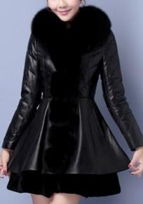 Manteau poches en fausse fourrure cuir pu col en fourrure noir