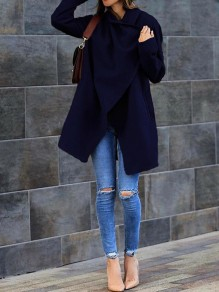 Dark Blue Pockets Turndown Collar Long Sleeve Fashion Wool Coat
