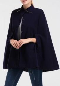 Marineblau Taschen Einreihig Stehkragen Poncho Elegantees Winter Cape Mantel Wollmantel Damen Mode
