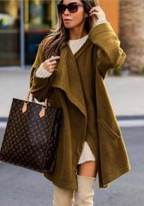 Khaki Taschen Umlegekragen Langarm Mode Mantel
