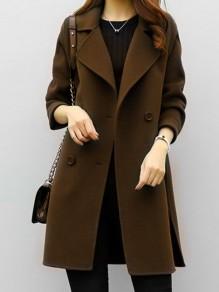 Manteau poches col rabattu manches longues cardigan café