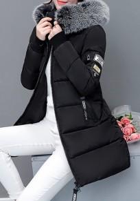 Schwarze Letter Taschen Reißverschluss Mit Fellkapuze Langarm Warmer Winter Verdickt Mantel Damen Daunenmantel