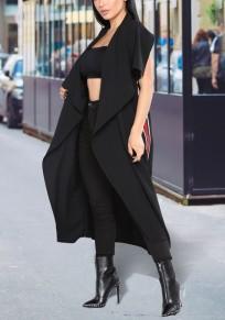 Schwarz gestreifte Schärpen drapiert Umlegekragen Mode Weste Strickjacke Mantel