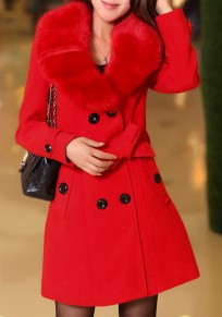Red Pockets Belt Turndown Collar V-neck Long Sleeve Cardigan Coat