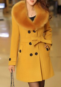 Yellow Pockets Belt Turndown Collar V-neck Long Sleeve Cardigan Coat