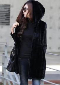 Black Pockets Faux Fur Hooded Vests Sleeveless Coats