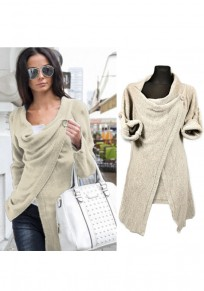 Apricot Irregular Cowl Neck Stud Long Sleeve Casual Coat