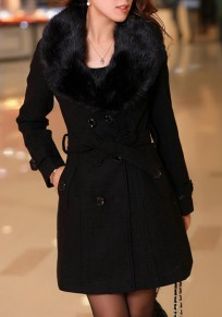 Black Buttons Pockets Bow Sashes Fur Collar Long Sleeve Thick Coat