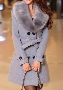 Grey Buttons Pockets Bow Sashes Fur Collar Long Sleeve Thick Coat