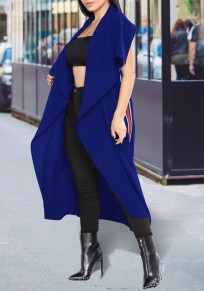 Abrigo fajas irregulareses cuello abierto moda azul