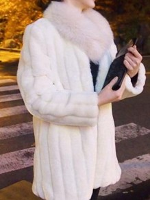 Manteau en fausse fourrure col rond manches longues hiver mode femme blanc
