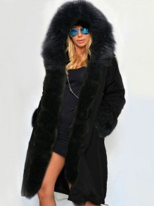 Black Patchwork Pockets Fur Lined Hooded Long Sleeve Parka Fashion Coat