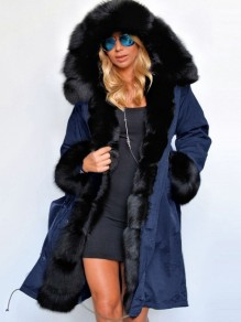 Blue Patchwork Pockets Fur Hooded Long Sleeve Parka Fashion Coat