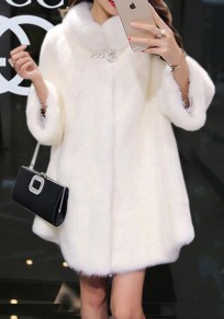 White Turndown Collar Long Sleeve Faux Wool Coat