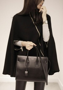 Black Patchwork Zipper Irregular High Neck Fashion Cape Wool Coat