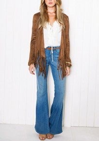Coffee Irregular Tassel Suede Long Sleeve Western Casual Cardigan Coat