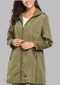 Manteau parka poches à cordon de serrage à capuche sans manches longue occasionnel vert armée