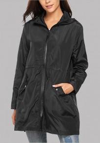 Black Pockets Drawstring Hooded Long Sleeve Casual Parka Coat