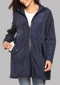 Marineblau Taschen Mit Kordel Langarm Funktions Outdoor Jacke Wasserabweisend Damen Günstig
