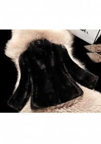 Black Fur Pockets Band Collar Long Sleeve Fashion Coat